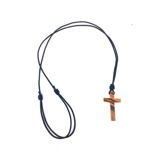 Necklace with cross made of genuine olive wood, handmade in Mallorca wood jewelry, chain with cruiser, rosary