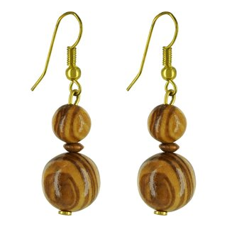 Earrings made of genuine olive wood beads handmade wooden jewelry jewelry made of olive wood olive wood beads jewelry earrings
