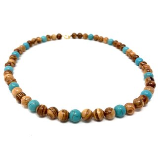 Necklace with pearls made of real olive wood and dyed turquoise blue handmade in Mallorca wooden jewelry jewelry made of olive wood