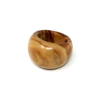 Genuine olive wood finger ring - handmade - 17mm inside diameter - wooden jewelry - unique ring - curved shape - suitable for everyday use