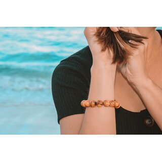 Bracelet made of large genuine olive wood beads handmade in Mallorca wooden jewelry jewelry made of olive wood flexible and stretchy