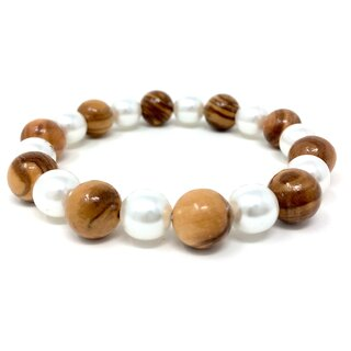 Bracelet made of genuine olive wood beads 10mm and white artificial beads 9mm handmade wooden jewelry jewelry made of olive wood also as anklet wearable