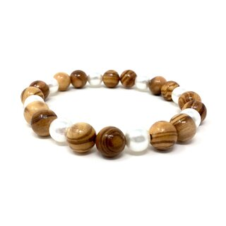 Bracelet made of genuine olive wood beads 10mm and white faux pearls 9mm handmade wooden jewelry jewelry made of olive wood to wear as anklets