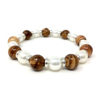 Bracelet made of genuine olive wood beads 10mm and white pearls 9mm with metal rings handmade wooden jewelry jewelry made of olive wood also as anklet wearable