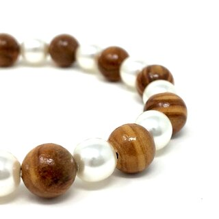 Bracelet made of genuine olive wood beads 8mm and white artificial beads 7mm handmade wooden jewelry jewelry made of olive wood also suitable as anklets