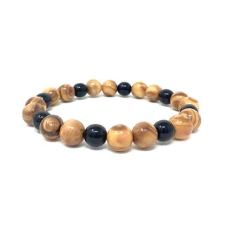 Bracelet made of genuine olive wood beads 10mm and artificial pearls 8mm handmade wooden jewelry jewelry made of olive wood also as anklet wearable