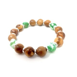 Bracelet made of genuine olive wood beads 12mm with green white glass beads 10mm with metal rings Handmade wooden jewelry Jewelry made of olive wood also wearable as anklet