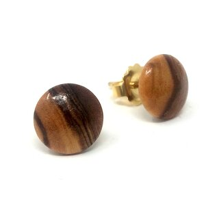 Studs with lentil-shaped pearls made of genuine olive wood handmade wooden jewelry jewelry made of olive wood olive wood jewelry earrings