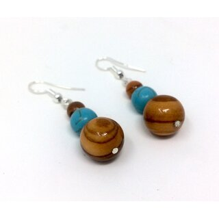 Earrings with pearls of real olive wood and turquoise blue Handmade wooden jewelry made of olive wood