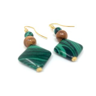 Earrings with pearls and green aplications of real olive wood handmade wooden jewelry jewelry made of olive wood olive wood jewelry earrings