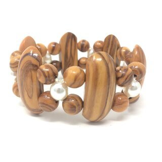 Bracelet made of genuine olive wood beads, limbs and white pearls handmade in Mallorca olive wood jewelry