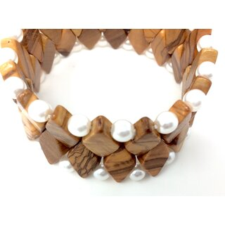Bracelet made of genuine olive wood beads, limbs and white pearls handmade in Mallorca olive wood jewelery