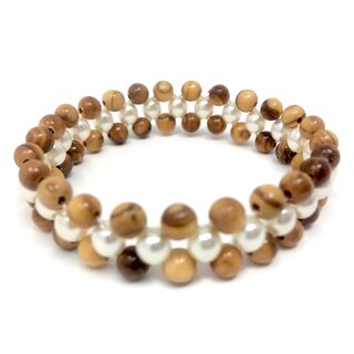Bracelet made of genuine olive wood beads and white pearls handmade in Mallorca