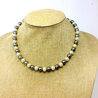Necklace made of genuine white and gray Mallorca beads handmade