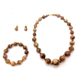 Jewelry set made of genuine olive wood with necklace, bracelet and earrings handmade wood jewelry natural product