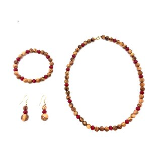 Jewelry set necklace, bracelet earrings made of genuine olive wood and red beads handmade wooden jewelry