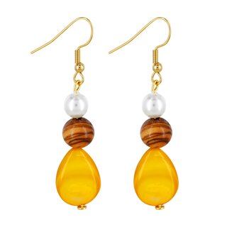 Olive wood earrings with white pearl and yellow gemstone handmade on Mallorca summerlock wood jewelry