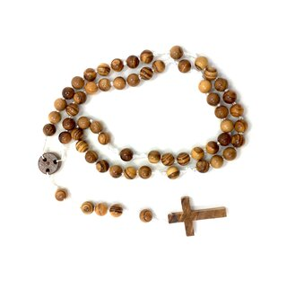 Rosary made of olive wood with white cord handmade on Mallorca wooden chain prayer beads