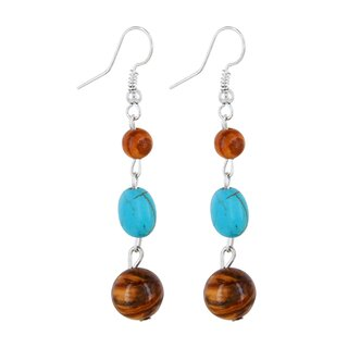 Earrings made of olive wood beads with turquoise stone and hematite pearl handmade on Mallorca summerlock nature single pieces