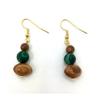 Earrings made of olive wood with green colored wooden beads handmade in Mallorca Summer Love Nature Unique pieces