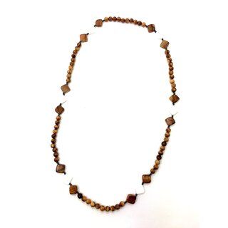 Necklace made of olive wood beads with rhombic applications of olive wood and white gemstone handmade in Mallorca