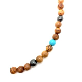 Necklace made of olive wood beads with turquoise stone and hematite bead handmade on mallorca unique piece of wood necklace