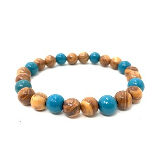 bagusto Bracelet of small wooden colour and turquoise olive perls, hand crafted on Majorca, unique piece, olive perls