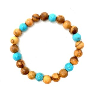 bagusto bracelet made of olive wood beads with turquoise beads 8mm beads handmade on Mallorca natural product stretch band
