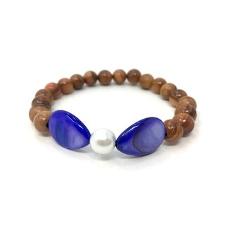 Bracelett made of olive wood perls with violet semi precious stones, hand made in Majorca, unique piece of olive wood perls, colour violet